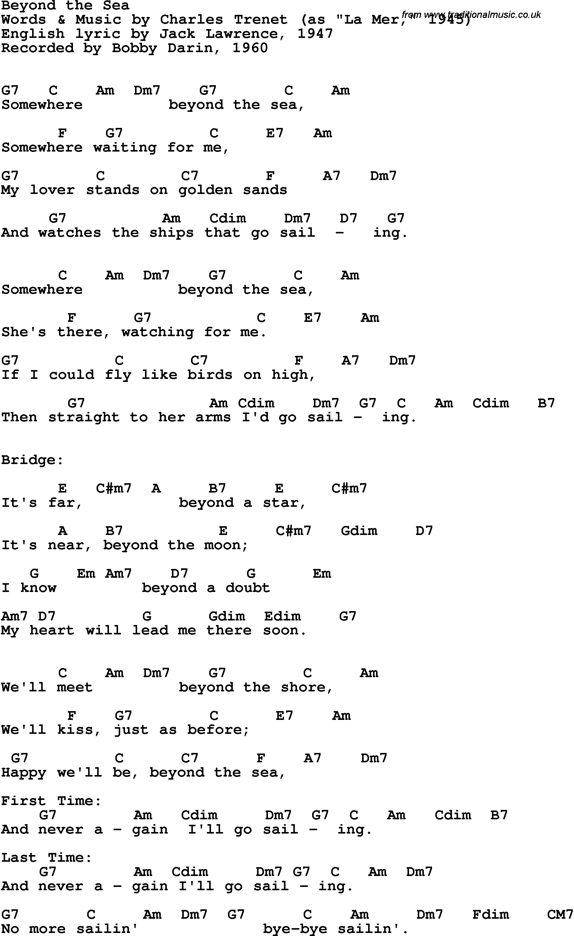 Song Lyrics With Guitar Chords For Beyond The Sea Bobby Darin