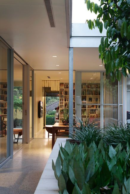 Corridor Roof Design: Floor-to-ceiling Shelves In The Library (at The End Of The