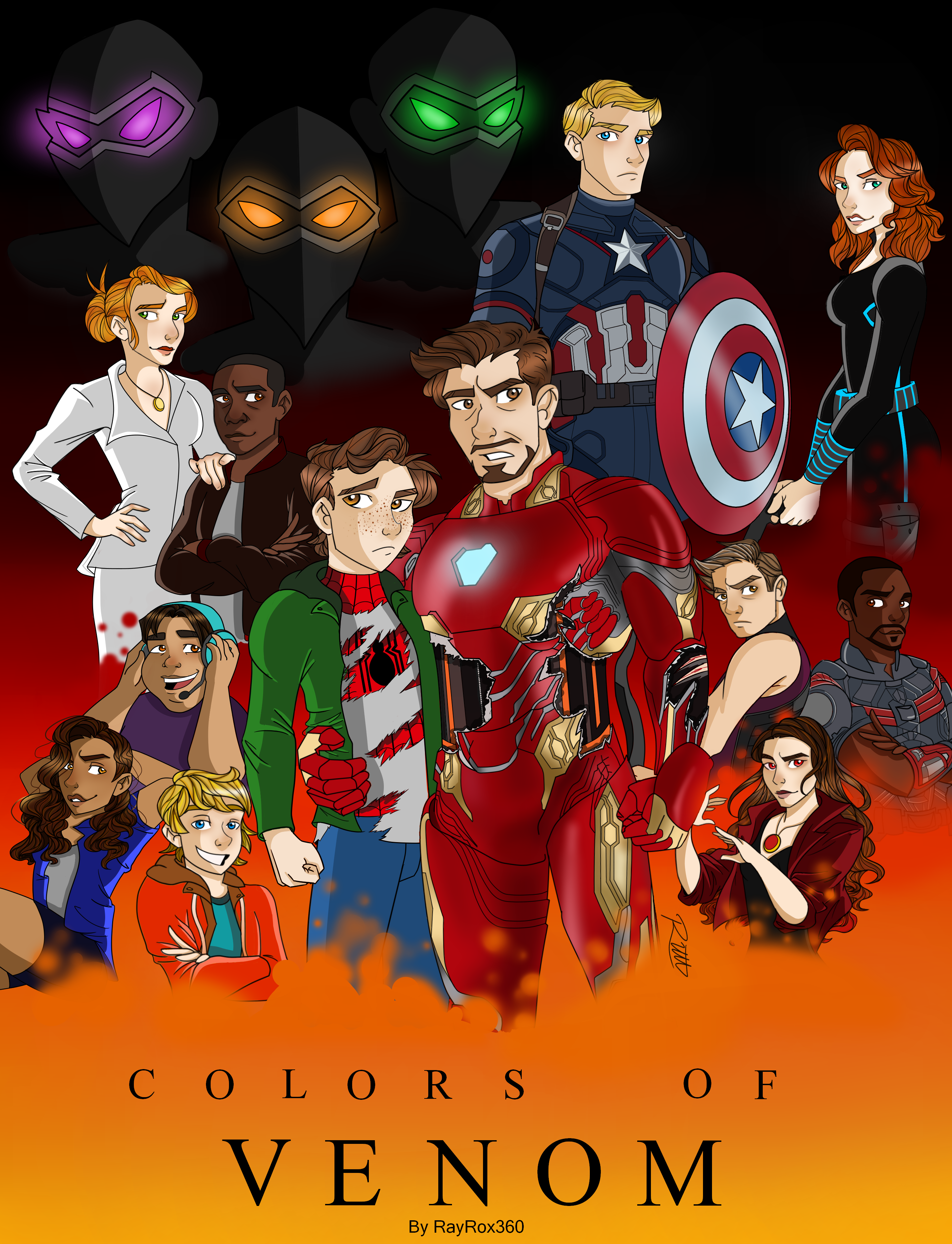 Colors of Venom Fanfic Cover by RayRox360 - Tony Stark and Peter