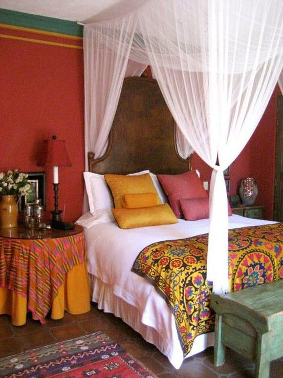romantic bedroom decorating ideas global style the budget decorator - Orange Canopy Decorating