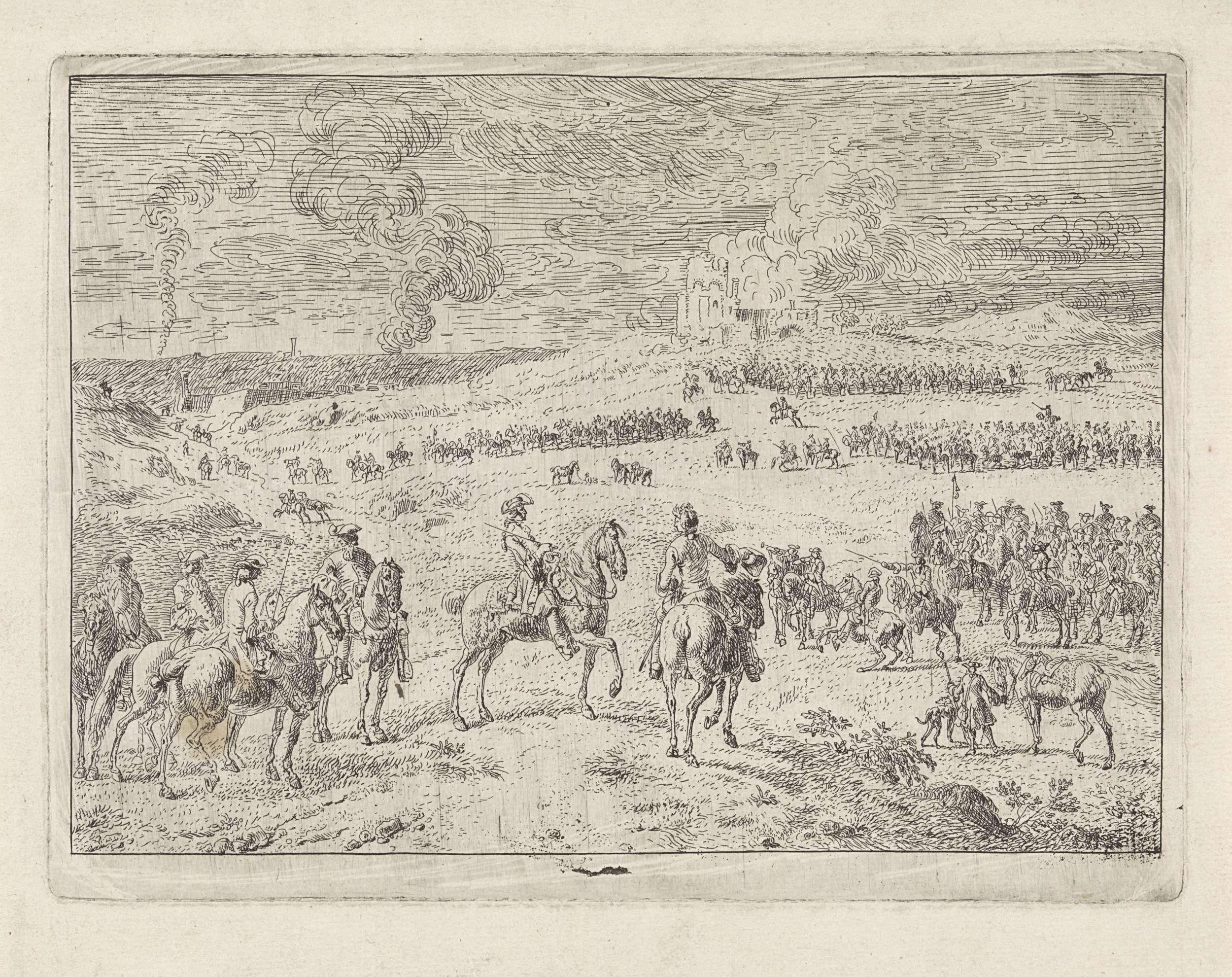 Dirk Maas | Willem III bij de slag aan de Boyne, 1690, Dirk Maas, 1690 | Gezicht op de slag aan de Boyne, met op de voorgrond Willem III, te paard. Op het slagveld vele ruiters en op de achtergrond een brandende ruïne.