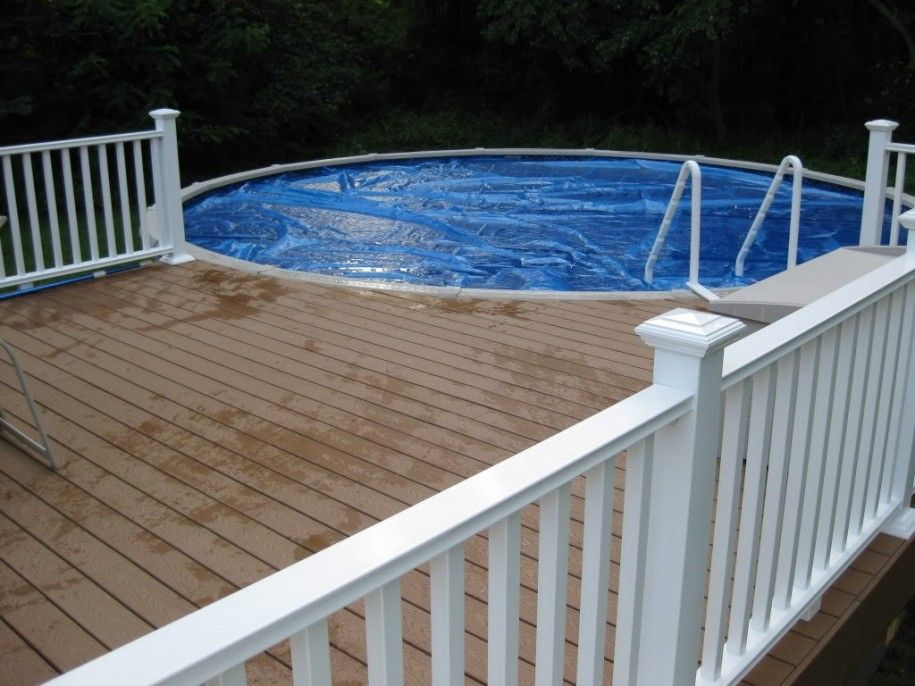 stunning above ground pool decks in irregular shape white deck fence