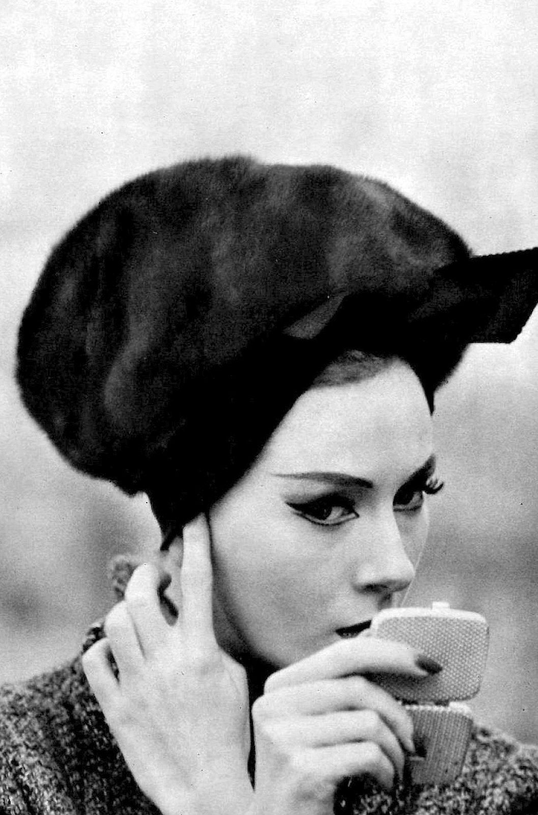 Model in mink beret with satin band by Jean Barthet, photo by Georges Saad, 1961