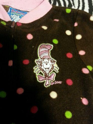 ~ Dr Seuss Brown Dot Zip Up Sleep Play Cat In The Hat Sleeper PJ ~Size 6/9M ~EUC