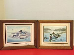 2 - Vintage E. Rambow Ducks/Fowl On A Pond Framed Prints, Signed