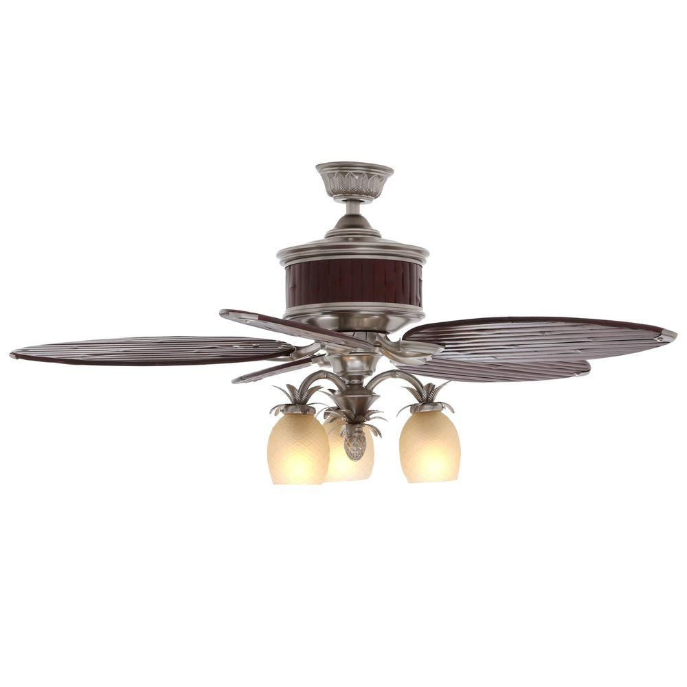 Hampton Bay Colonial Bamboo 52 In Indoor Pewter Ceiling Fan With Light Kit And Remote Control