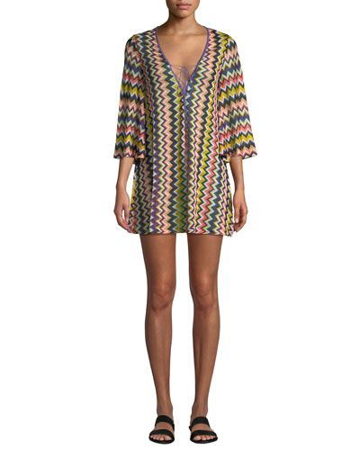 30b8abac44 TXX2N Missoni Mare Chevron Lace-Up Short Coverup Tunic
