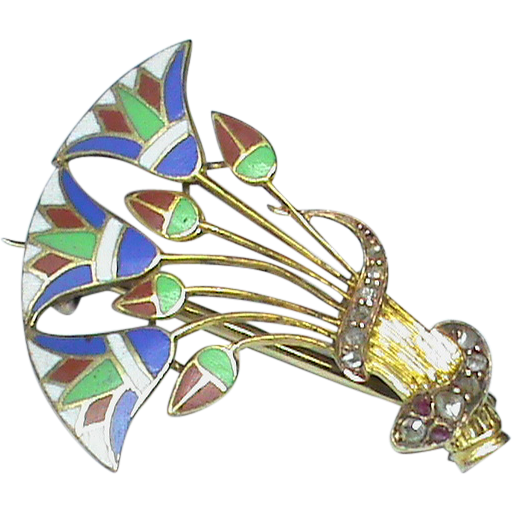 Vintage art deco 14k gold enamel egyptian lotus flower and diamond vintage art deco 14k gold enamel egyptian lotus flower and diamond snake brooch mightylinksfo