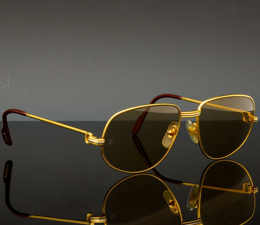 8b555feb3aa29 Cartier Sunglasses (Men s Pre-owned Vintage 18K Gold Plated Aviator Paris  Designer Sun Glasses)