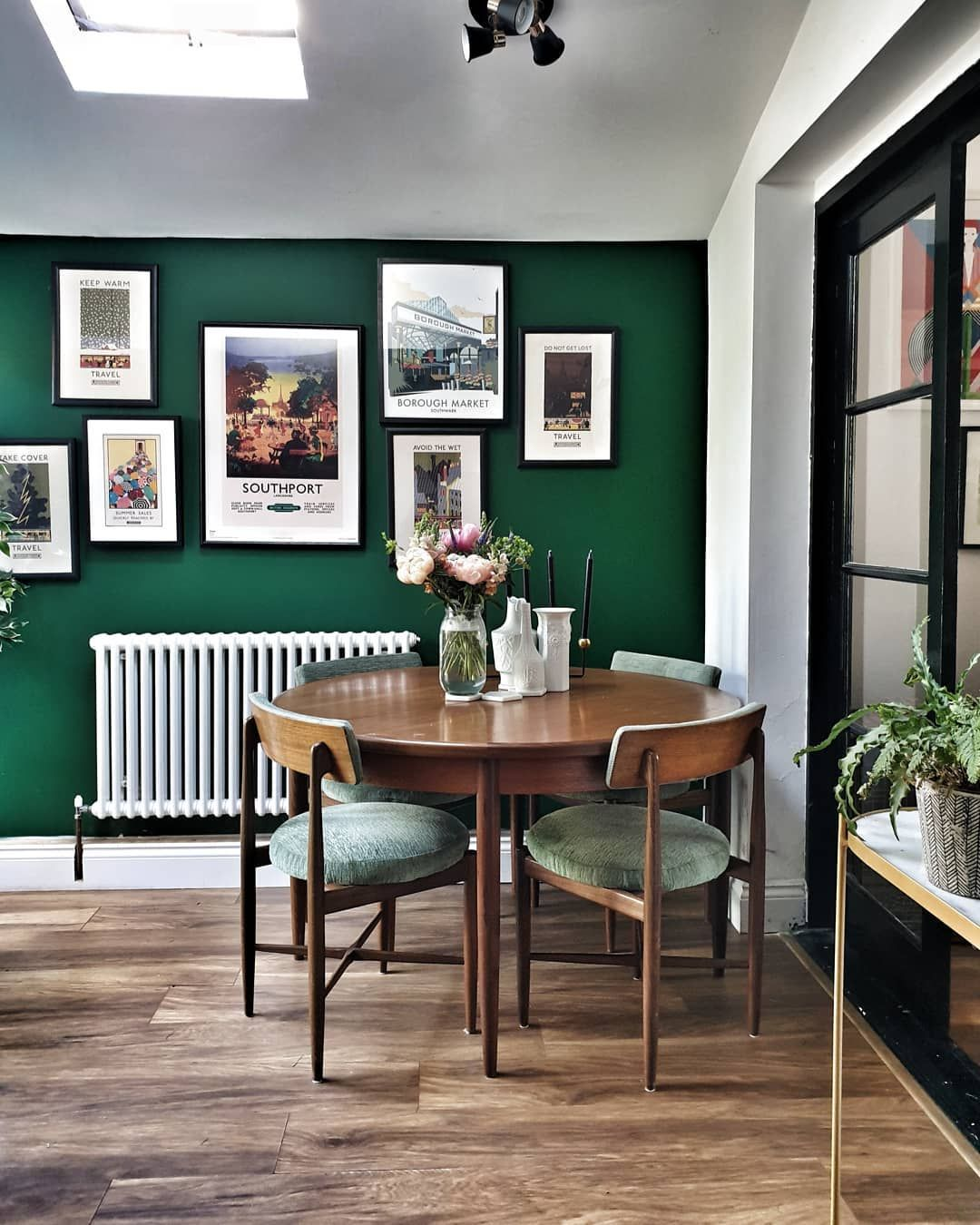 Forest Green Wall Gallery Wall Vintage Dining Table And Chairs And Wooden Flooring In The Dini Green Dining Room Walls Green Dining Room Vintage Dining Table