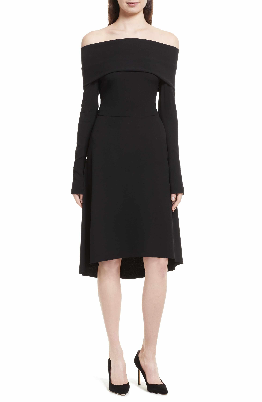 Theory Kensington Off The Shoulder Foldover Dress Dresses Nordstrom Dresses Black Cocktail Dress [ 3000 x 1956 Pixel ]