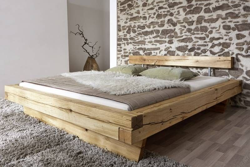 Doppelbett Bett Balkenbett 180x200cm Wildeiche Eiche Massiv Geolt Holzbalken Bett Holzbett Eichenbetten