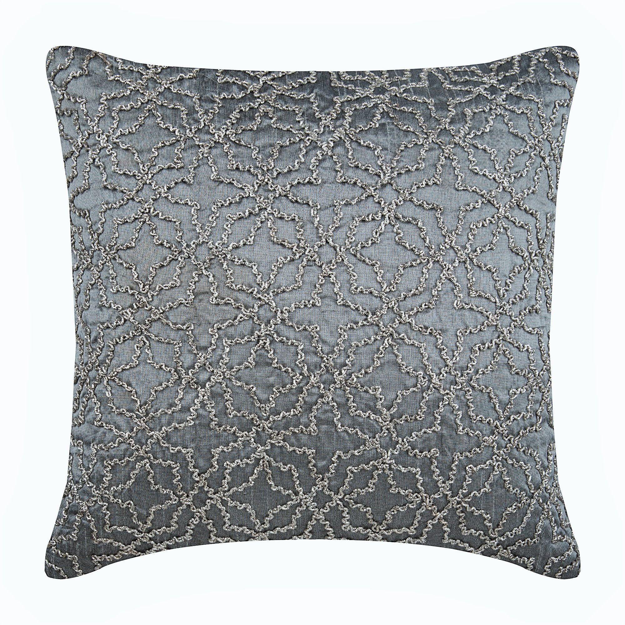 Decorative Lattice Trellis Pillow For Sofa 16 X16 Silk Sofa Cushion Cover Gray Toss Pillows Geometric Contemporary Spins On A Dime Silk Throw Pillows Decorative Throw Pillow Covers Silver Throw Pillows