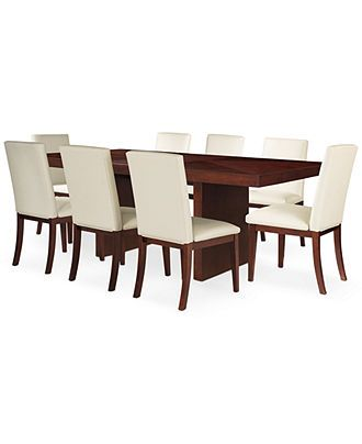 Best Bari White 9 Pc Dining Set Table 8 Chairs Furniture 640 x 480