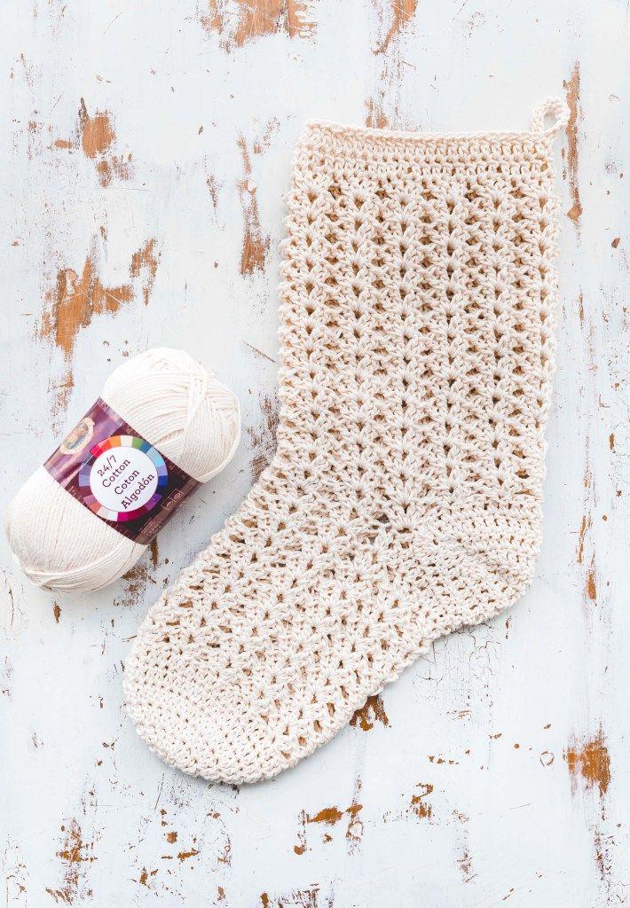 Crochet Farmhouse Christmas Stocking | Crochet para Navidad Xmas ...