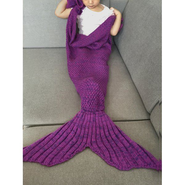 $14.99 Falbala Shape Knitted Mermaid Tail Design Blankets For Baby