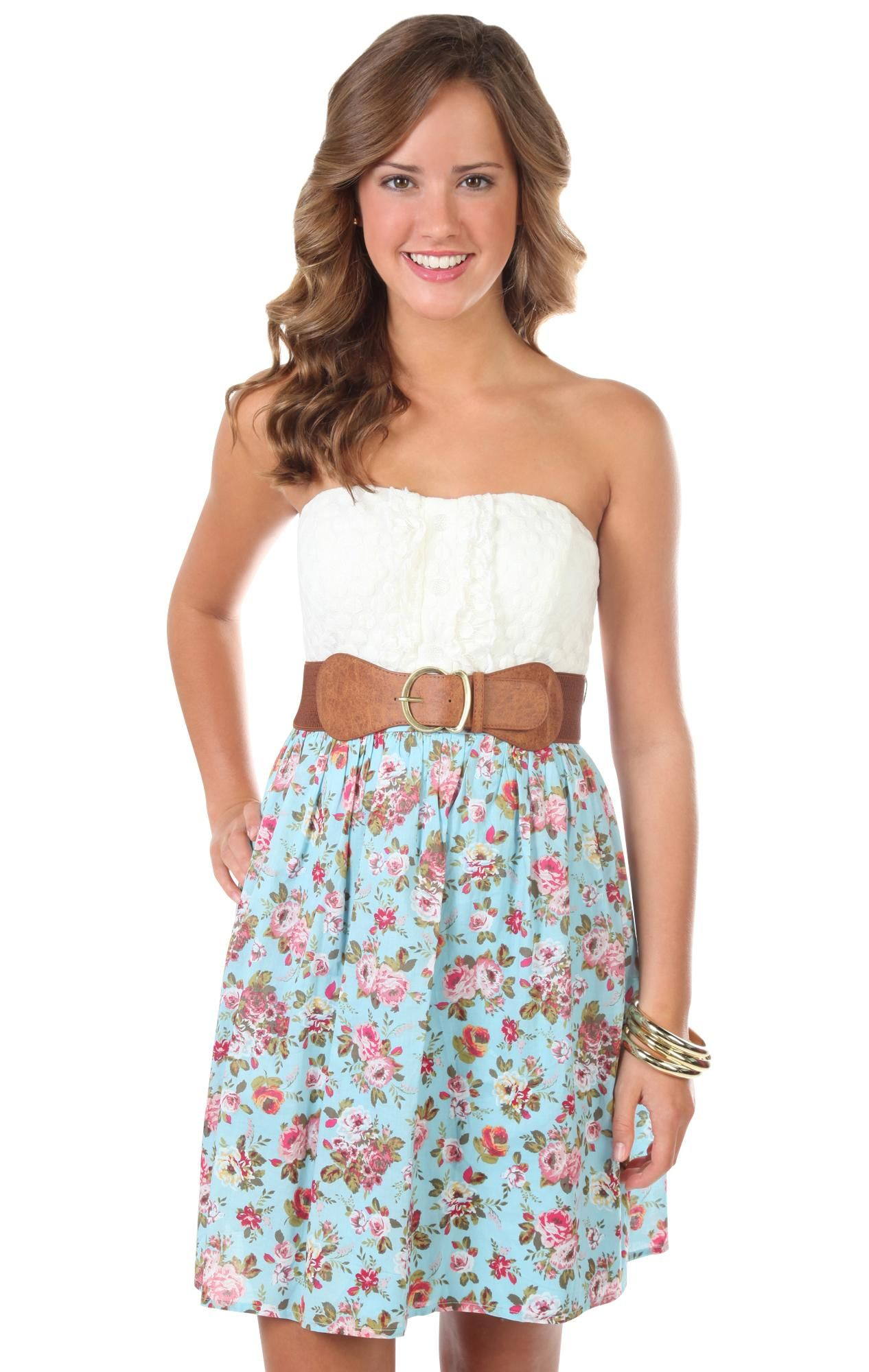 strapless floral dot printed belted casual dress my