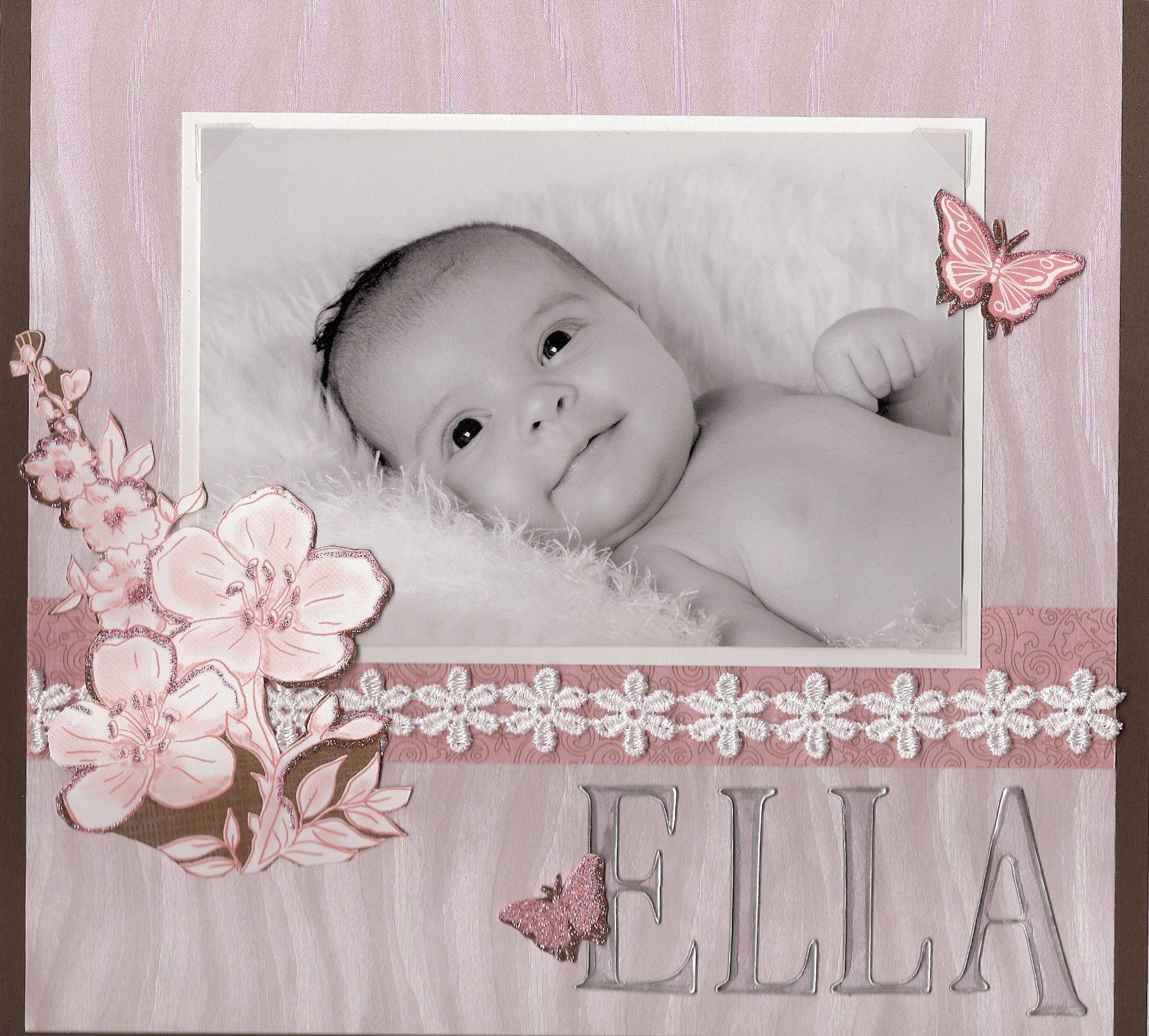 How to scrapbook baby book - Ella S Baby Book Cover Scrapbook Com