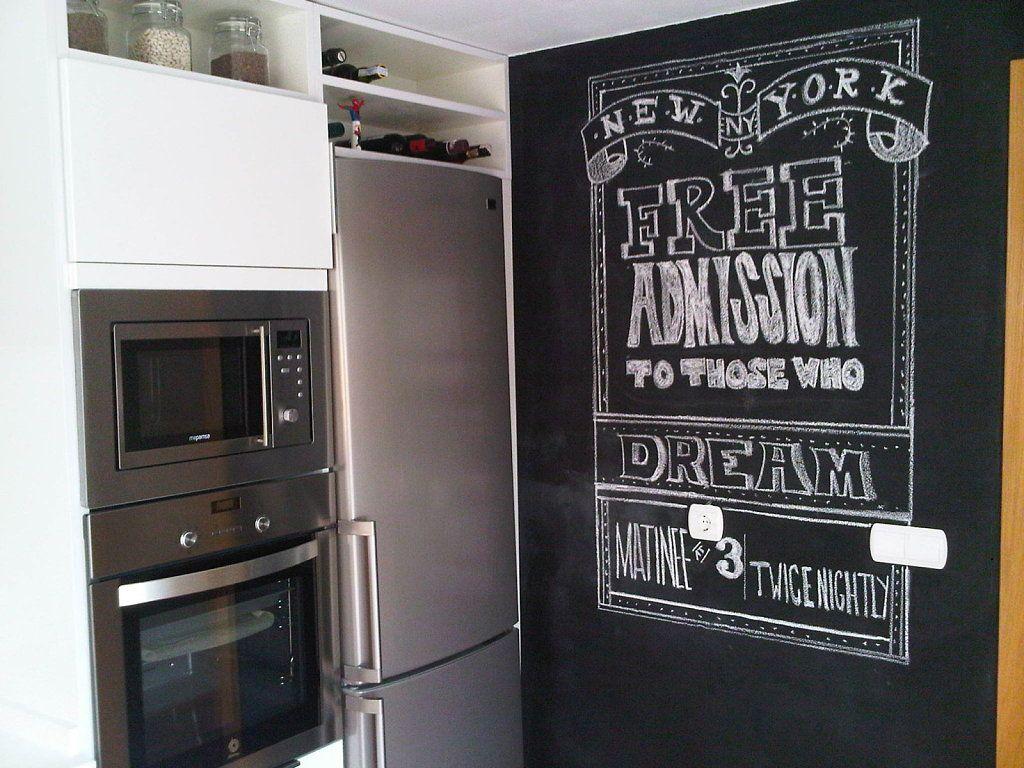 Pizarra en la cocina - Pintura pared pizarra ...
