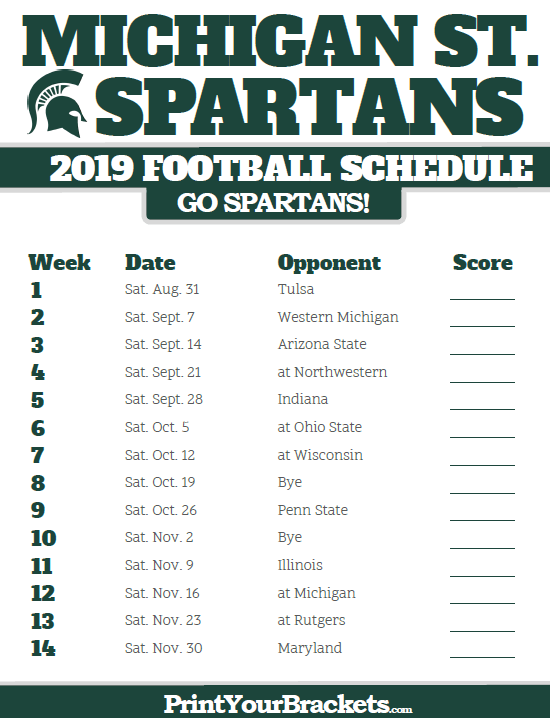 2019 Msu Football Schedule 2019 Michigan State Spartans Football Schedule | Printable College