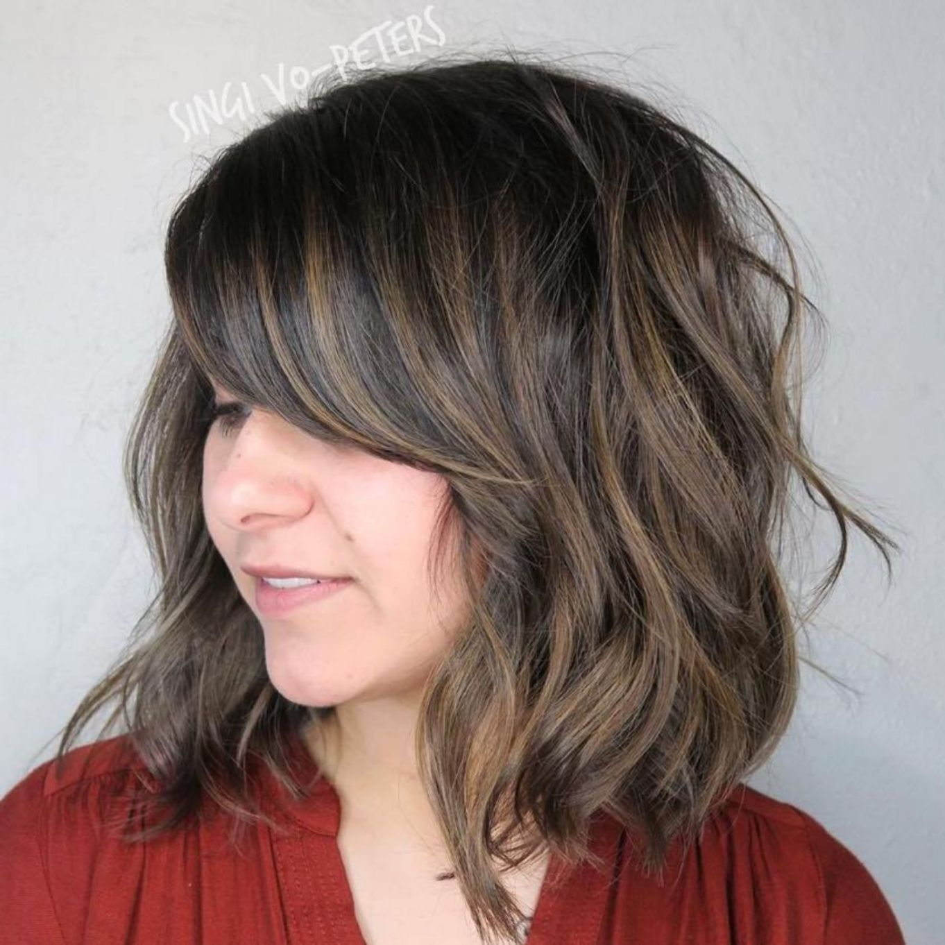 Wavy Bob With Side Bangs Haircut For Thick Hair Thick Hair Styles Side Bangs Hairstyles