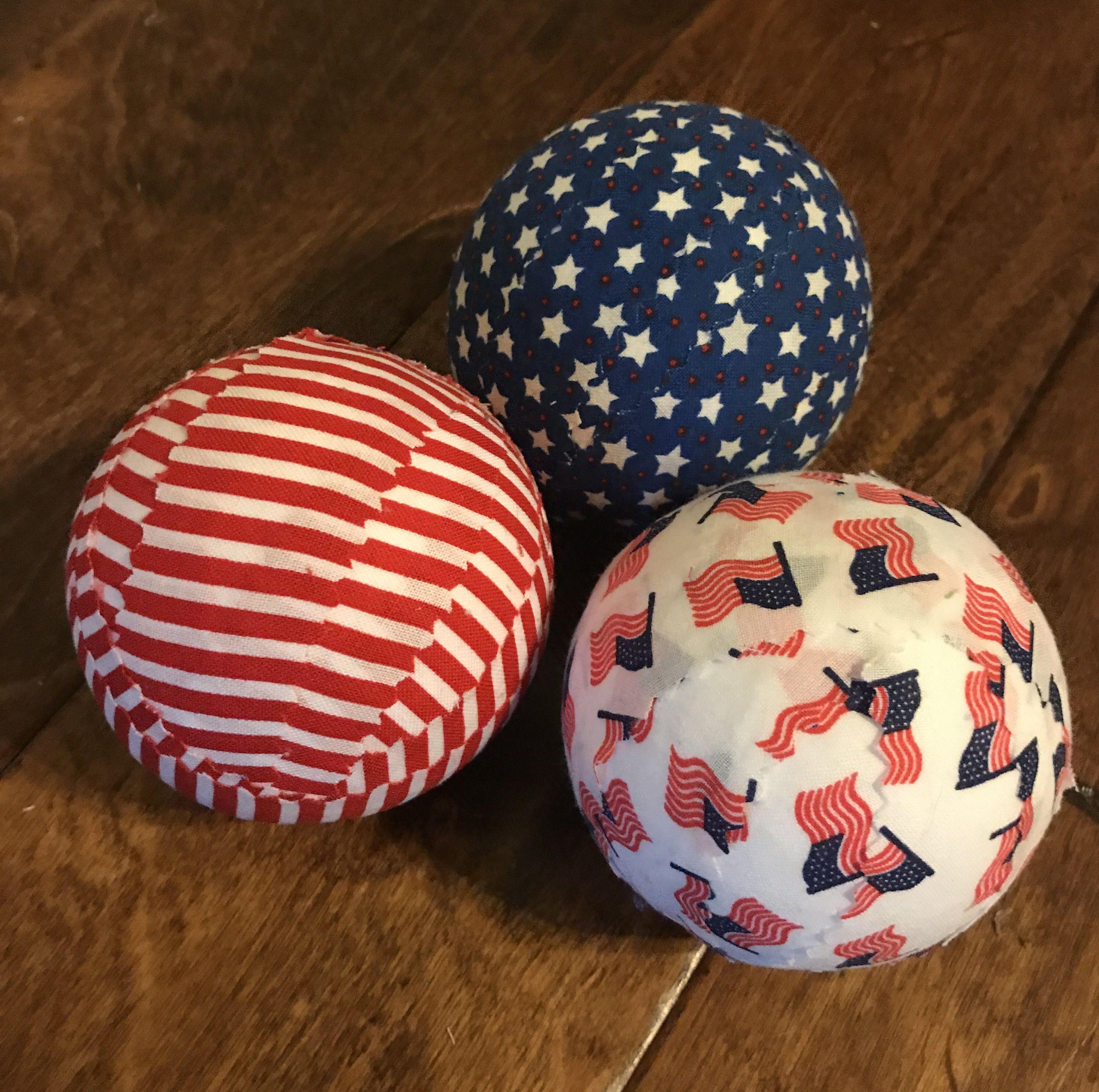 Patriotic Red White Cream Blue Stars Decorative Fabric Balls Orbs Bowl Filler Set Of 6 In 2020 Fabric Decor Fabric Balls Fourth Of July Decor