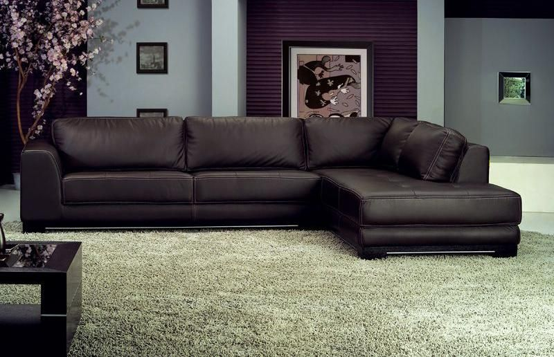Ath Charlotte Brown Leather Sectional Sofa