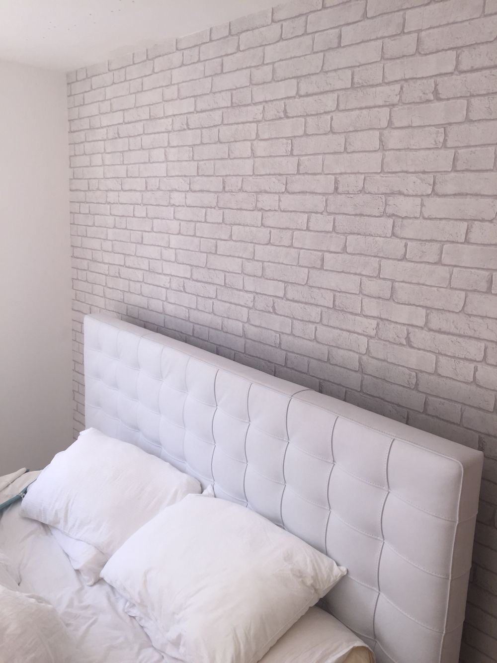 Off White Brick Effect Wallpaper In My Teenagers Bedroom Finished Decorating Today A White Brick Wallpaper Bedroom Brick Wallpaper Bedroom Brick Wall Bedroom