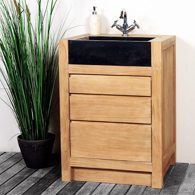 meuble salle de bain teck 60 cm