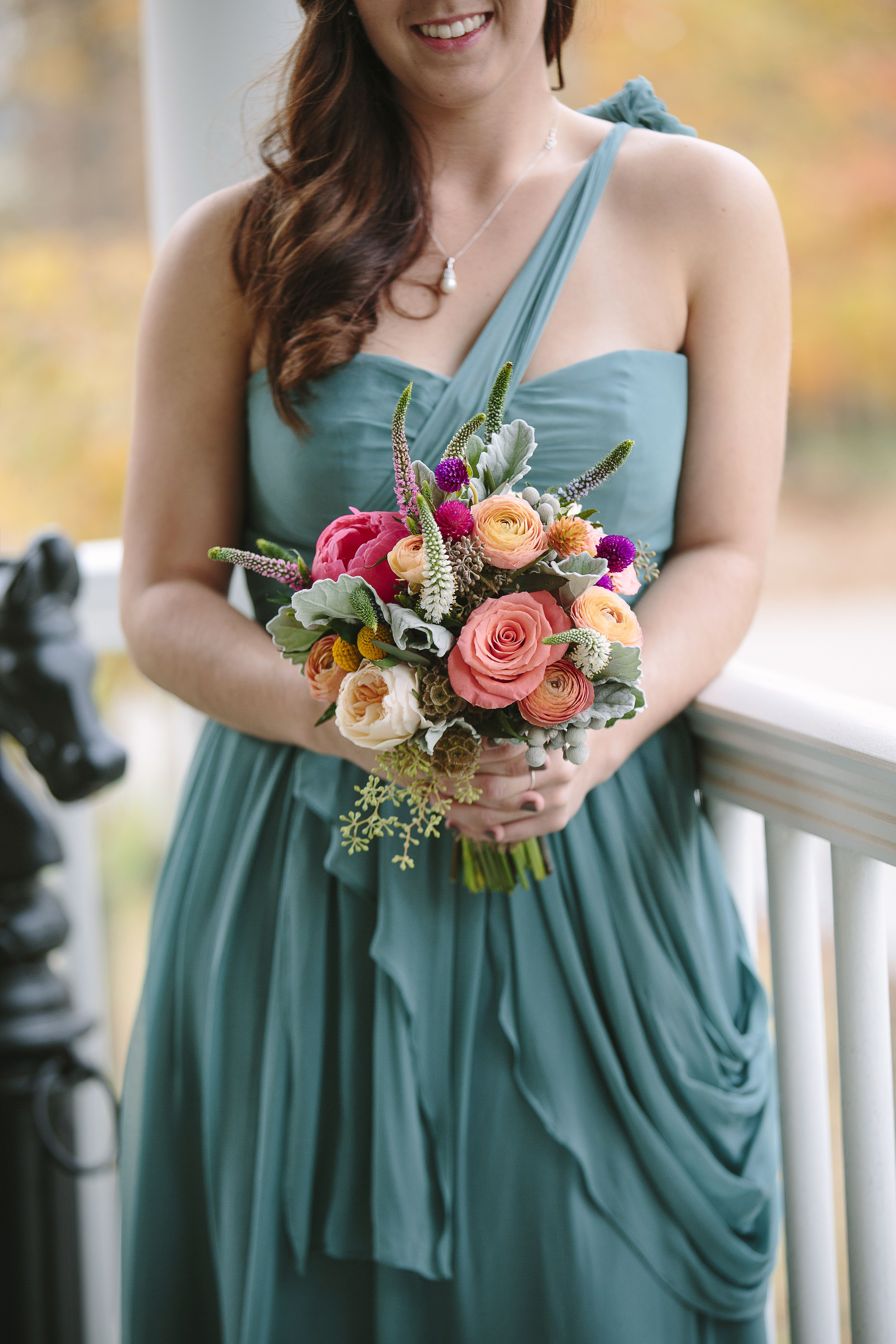 Teal Bridesmaid Dresses, Textured Bridesmaid Bouquets | wedding ...