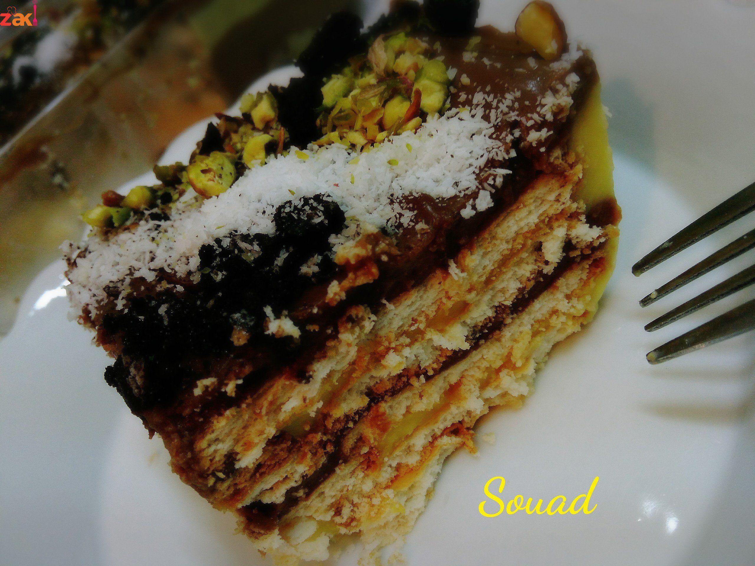 حلى الكاسترد بالبسكويت والشوكولاتة والطعم خيال زاكي Food Desserts Summer Recipes