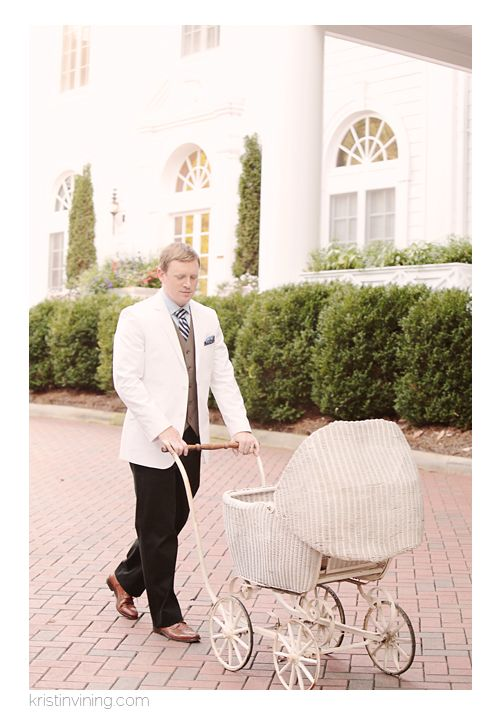great gatsby, gentleman, vintage stroller, father, daddy, love, baby, 1920's Inspired Prenatal Session, Duke Mansion Charlotte, Charlotte NC Portrait Photographer, Kristin Vining Photography