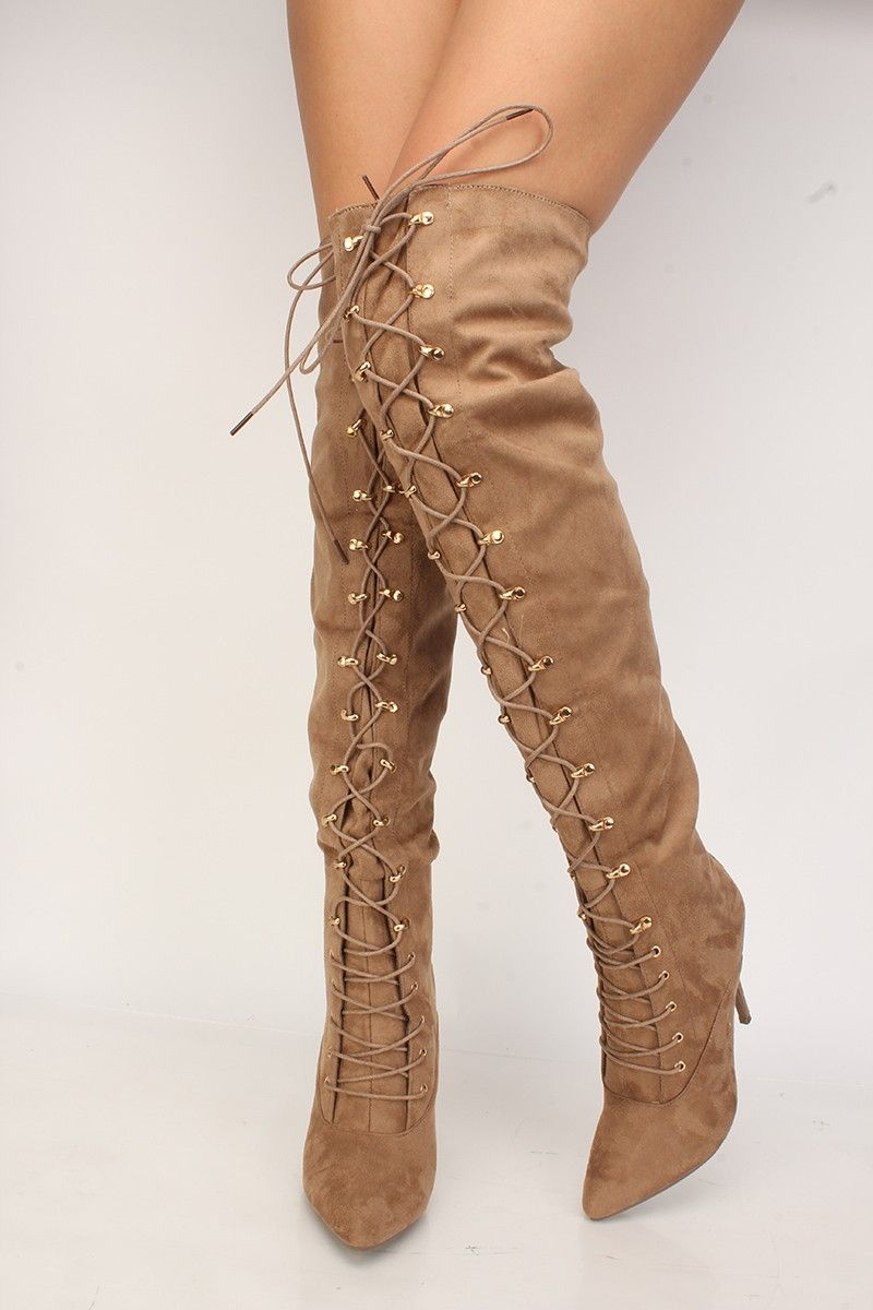 74480bc7a87 Buy Sexy Taupe Lace Up Front Pointy Close Toe Thigh High Boots with cheap  price and high quality Boots stores which offers Boots