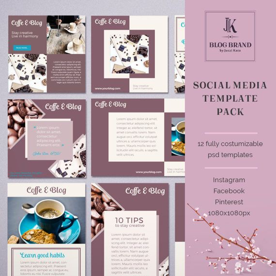 Coffee&Blog 12 Social Media Template For Instagram By