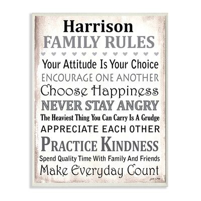 Personalized Family Rules By Janet White Textual Art On Wood Personalized Family Rules Family Rules Family Rules Wall Art