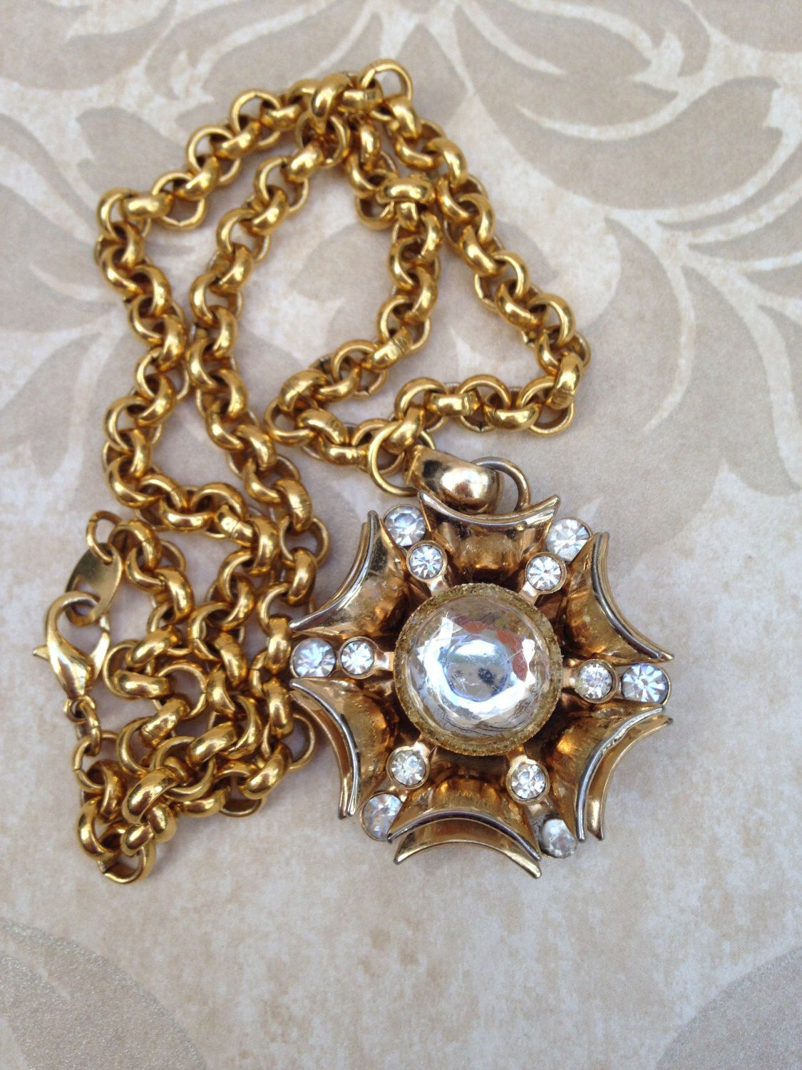 medallion link necklace gold choker greta chain large tone pin substantial well with made for starburst reserved