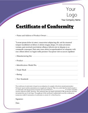 Certificate Of Conformity For Use In Any Industry Where Standards