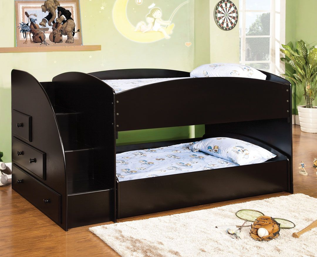 Furniture of america Merritt black finish wood Twin over twin short style bunk  bed with pull out trundle bed on bottom with stairs.