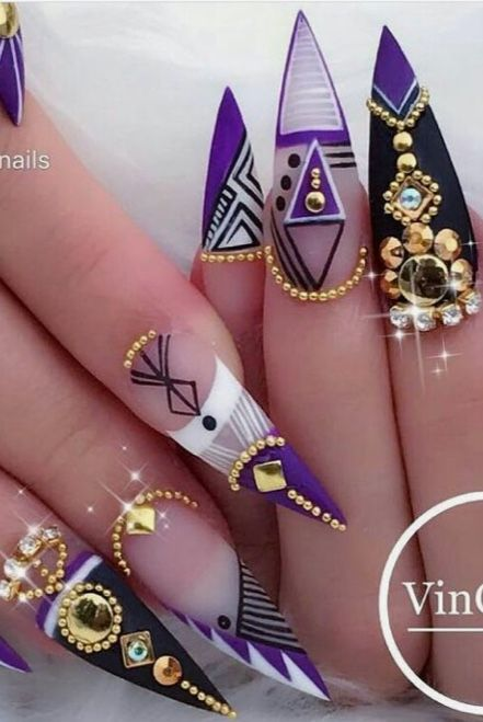 Purple Black White And Gold Nail Art Trendy Nails Purple Nail