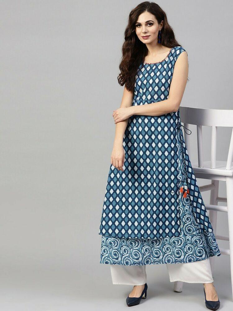 Women Kurta Kurti Indian Designer Bollywood Tunic Top Ethnic Dress Gown New S