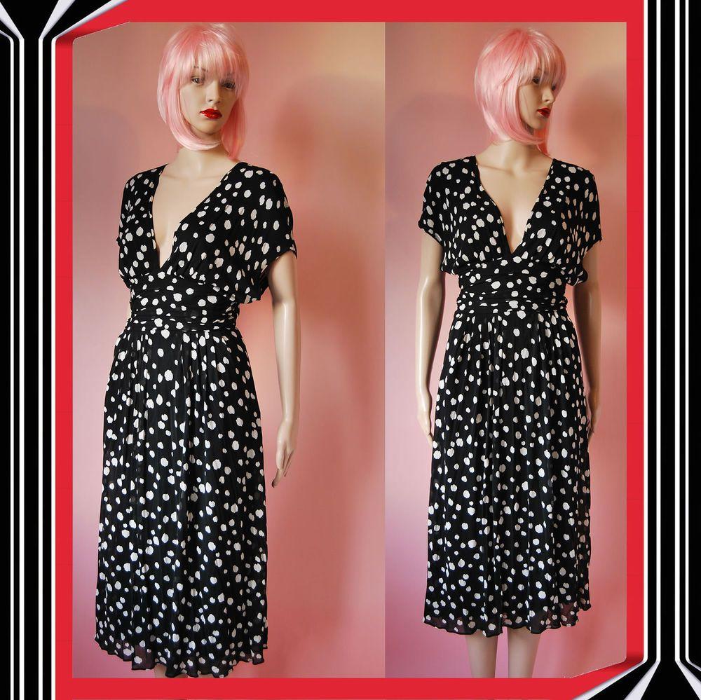 ❤ Vintage 1990s Louis Feraud Black Dress - Plunging Neck Line - UK ...
