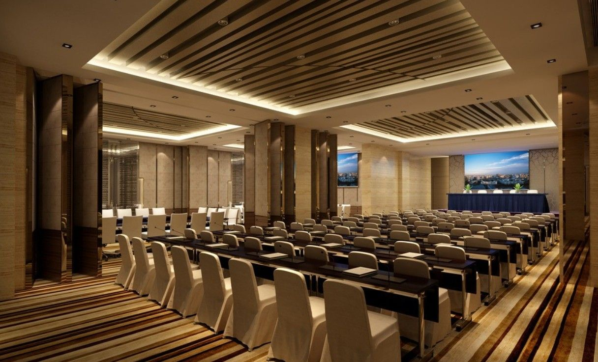 leather and wooden wall panelling for conference hall
