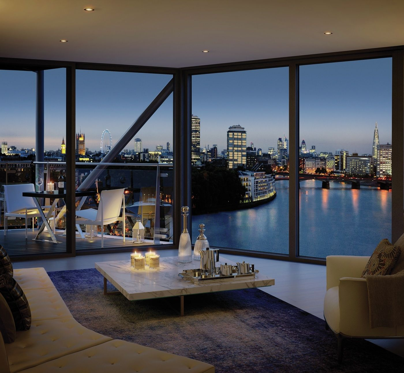 Room with a view from the Riverlight development in the