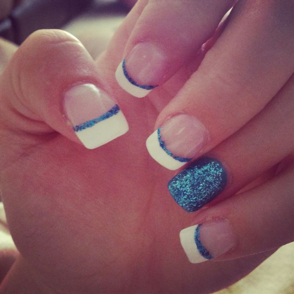 Colored french nail design - Blue French Tip Nail Designs