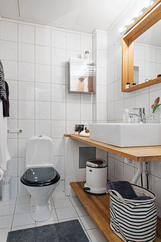 Drewniany Blat W łazience Bathroom Dekoracja łazienki