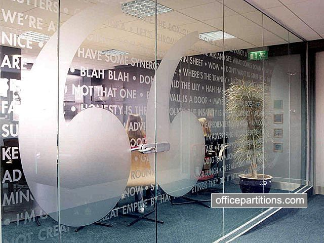 Cool type glass partition designs i like pinterest for Door vinyl design