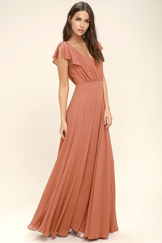 0efb876b60002 It s no wonder why we re head over heels for the Falling For You Rusty Rose  Maxi Dress! Woven poly forms wide
