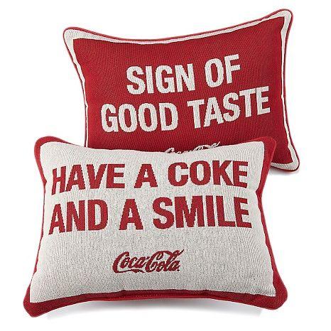 HSN Exclusive Coca-Cola Pillows.  Love, love, love! #HomeBowlHeroContest #HomeBowlHero