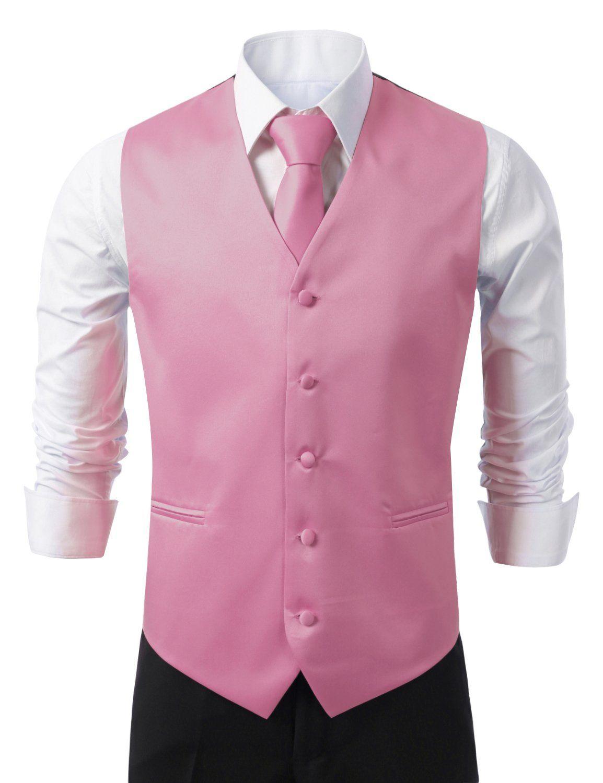 IDARBI for MEN 3 Pieces Set Solid Formal Tuxedo Vest Set / PINK ...