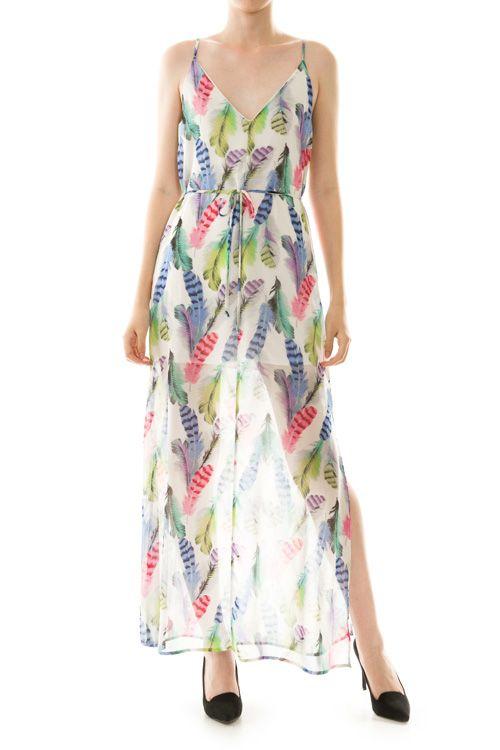 Feather Print Chiffon Maxi Dress
